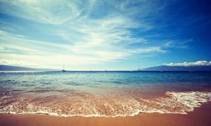 海边美丽的浪花摄影图片