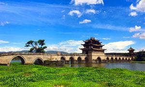 建水古城双龙桥美景摄影图片