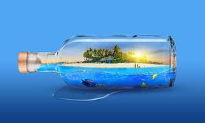漂流瓶中的夏季海边场景PS教程素材