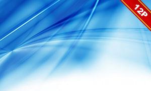 蓝色星光与波形等抽象元素背景图片