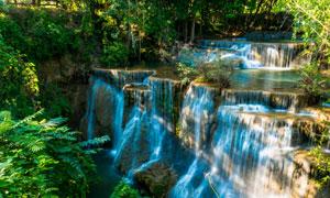 蓝色奇异瀑布景观风光摄影高清图片