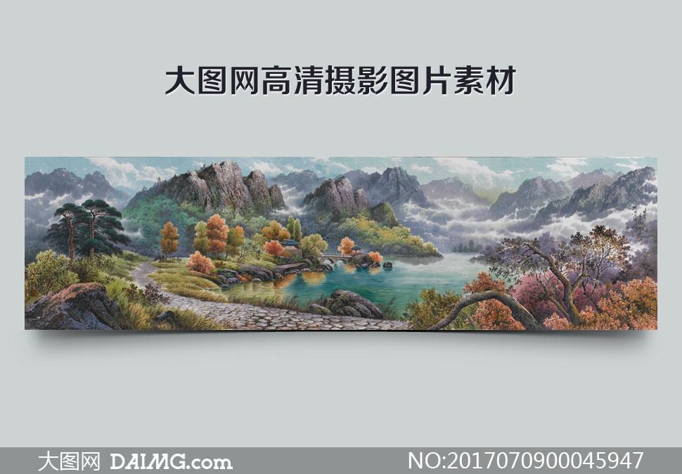 中国风水墨风景画设计图片素材