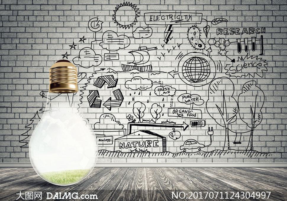 灯泡与黑白手绘涂鸦元素等创意图片