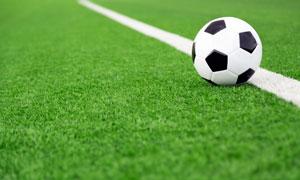 绿茵场上放在白线旁的足球高清图片