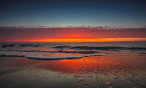 大海天边云彩旖旎瑰丽景观高清图片