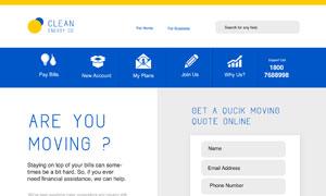 蓝色与黄色组合的网页设计分层模板