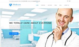 蓝色医疗卫生机构网站设计分层模板