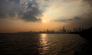 深圳红树林海边日落美景摄影图片