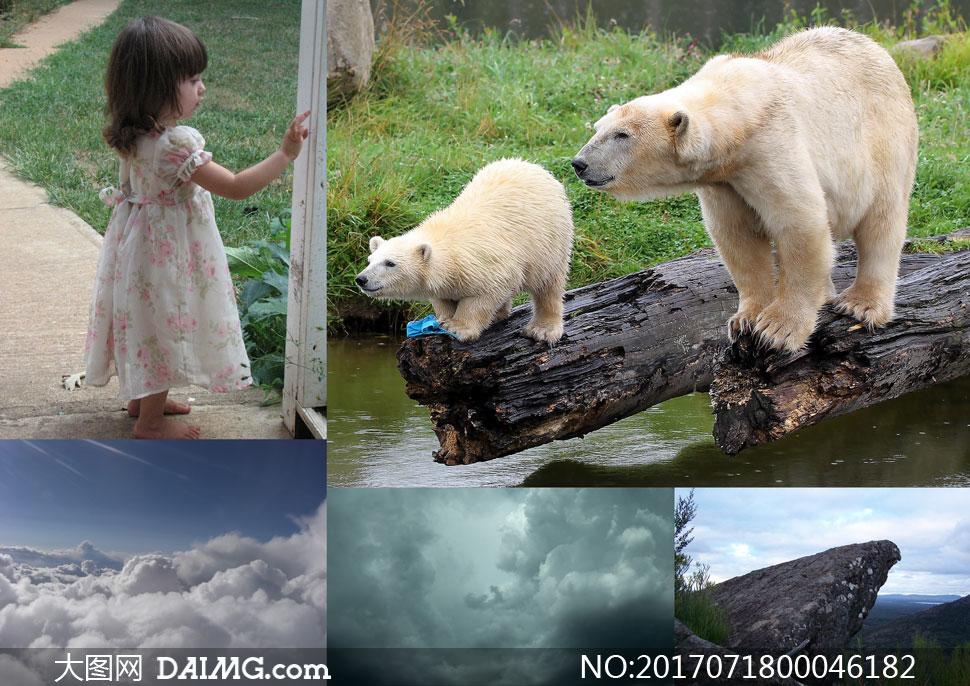 北极熊和小女孩交流场景PS教程素材