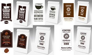 咖啡制品包裝袋展開圖設計矢量素材