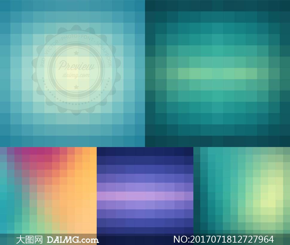 格子渐变色抽象背景等创意矢量素材