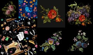 葡萄果实与刺绣花卉植物等矢量素材