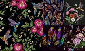 惟妙惟肖刺绣花鸟装饰图案矢量素材