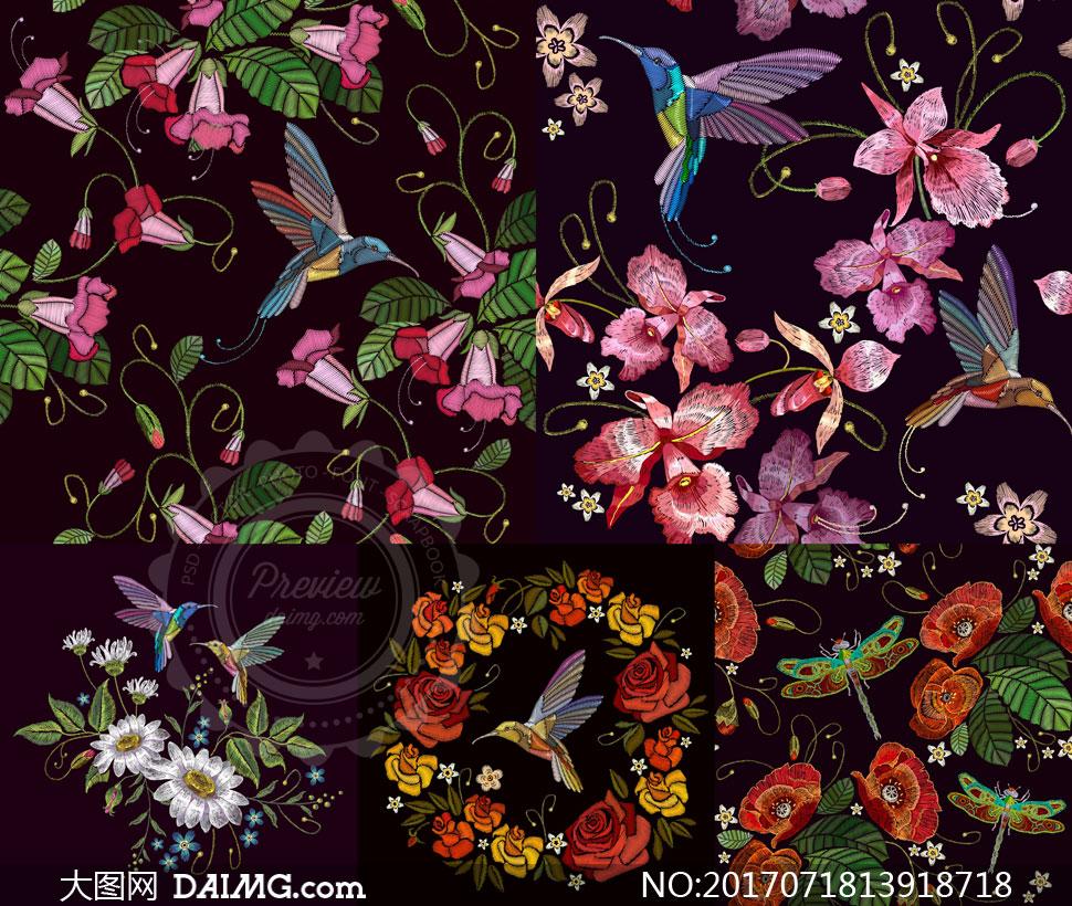 刺绣效果蜻蜓与花鸟等图案矢量素材
