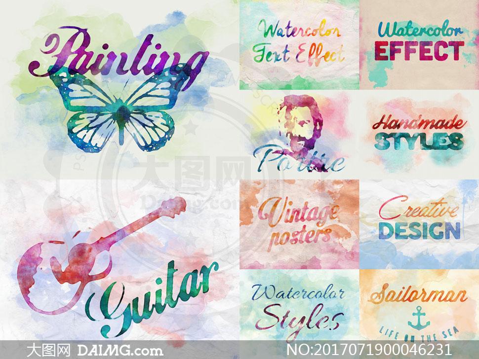 10款水彩主题艺术字设计PSD模板
