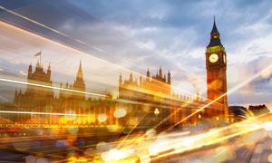 伦敦大本钟绚丽夜景光线摄影图片