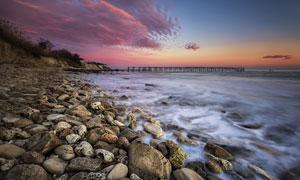 海边夕阳风光美景高清摄影图片