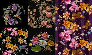 针织刺绣效果花鸟装饰图案矢量素材
