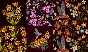 鲜艳多彩刺绣花鸟装饰图案矢量素材
