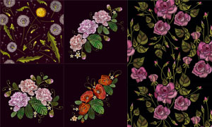 蒲公英等刺绣花卉植物图案矢量素材