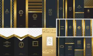 底纹图案与金色装饰边框矢量素材V3