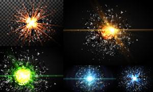 不规则碎片与耀眼光效矢量素材集V4