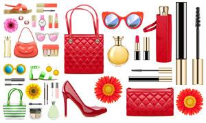 包包腕表与口红高跟鞋主题矢量素材