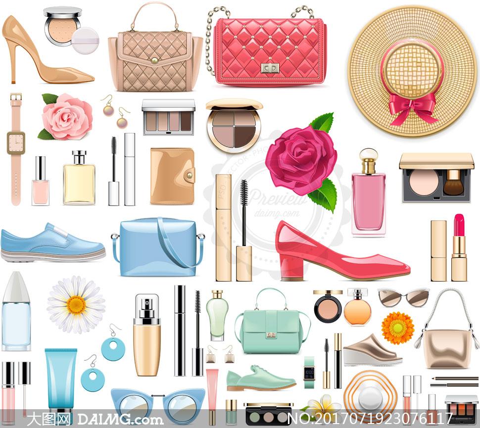 逼真服饰物品与化妆品设计矢量素材