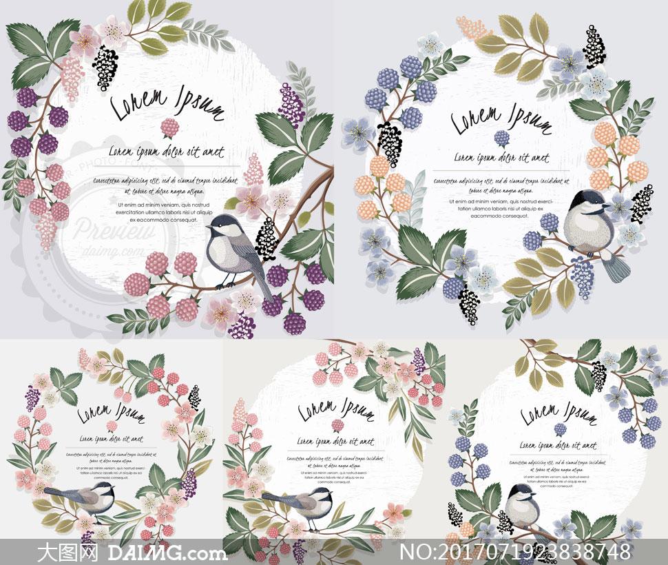 花鸟装饰圆形边框创意设计矢量素材