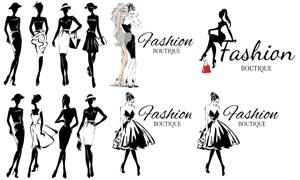 黑白效果时尚美女人物创意矢量素材