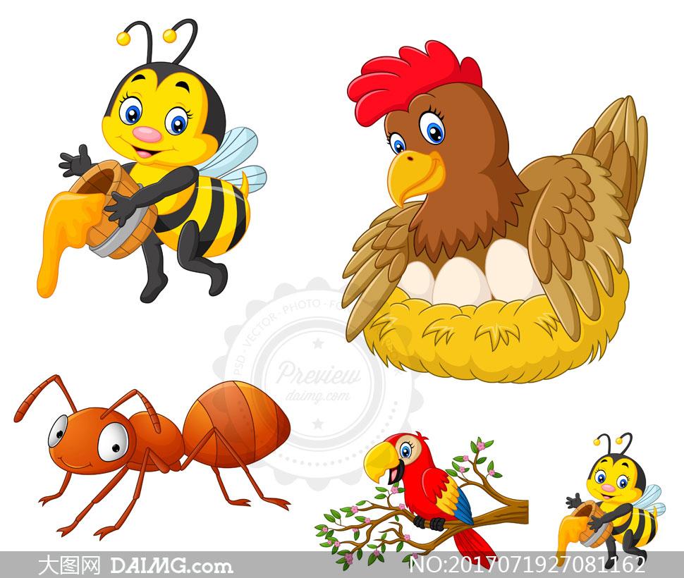 蜜蜂鹦鹉与蚂蚁等卡通动物矢量素材