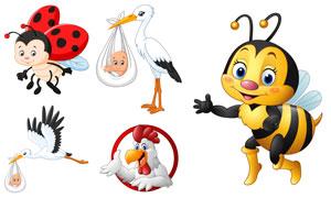 卡通公鸡与蜜蜂瓢虫等创意矢量素材