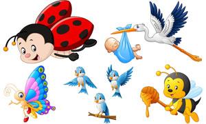 卡通风格鹦鹉蝴蝶与蜜蜂等矢量素材