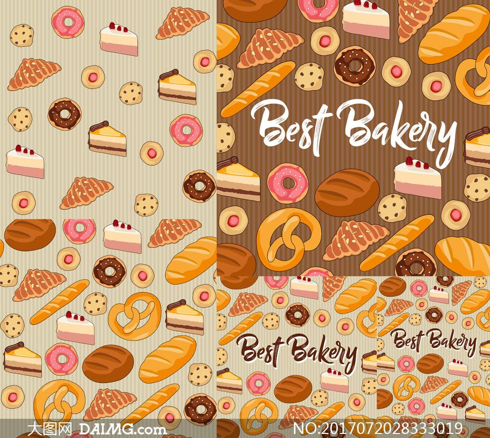 蛋糕甜甜圈等面食图案设计矢量素材