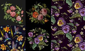 小鸟与鲜艳刺绣花朵图案等矢量素材
