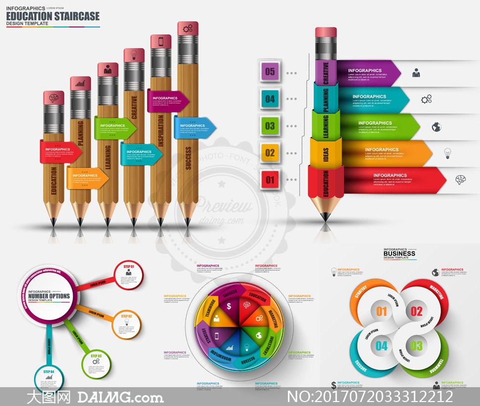 矢量素材 信息图表 > 素材信息                          铅笔与立体
