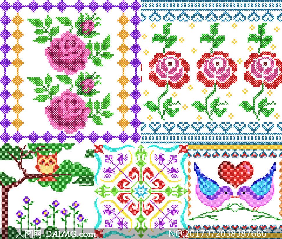 针织刺绣图案等装饰元素矢量素材v1