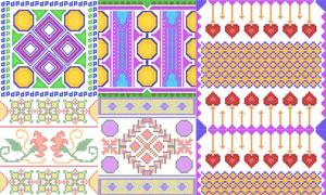 针织刺绣图案等装饰元素矢量素材V2