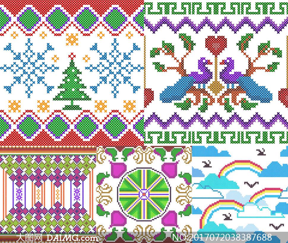 针织刺绣图案等装饰元素矢量素材v3