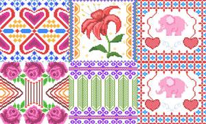针织刺绣图案等装饰元素矢量素材V4
