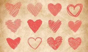 涂鸦线条组成的心形图案PS笔刷