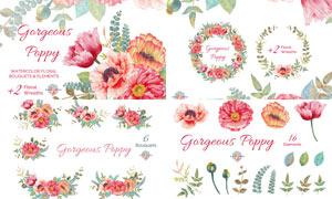 高清晰水彩花朵和藤蔓PS笔刷