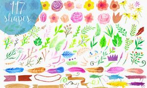 水彩花朵藤蔓和羽毛箭头PS笔刷