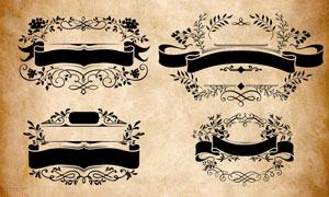 花纹和公告牌组成的创意图案PS笔刷
