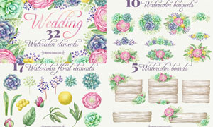 32款立体水彩花束和公告牌PS笔刷