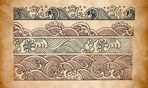 中国风传统浪花和海浪PS笔刷