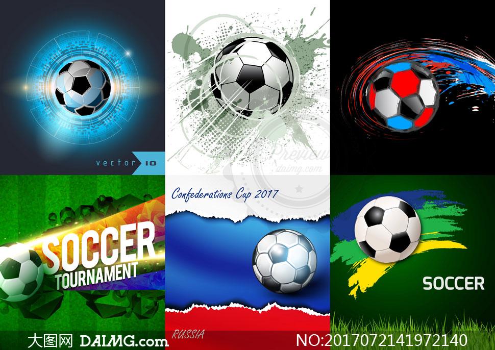 喷溅元素点缀的足球等创意矢量素材
