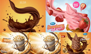 冰淇淋与丝滑巧克力等广告矢量素材