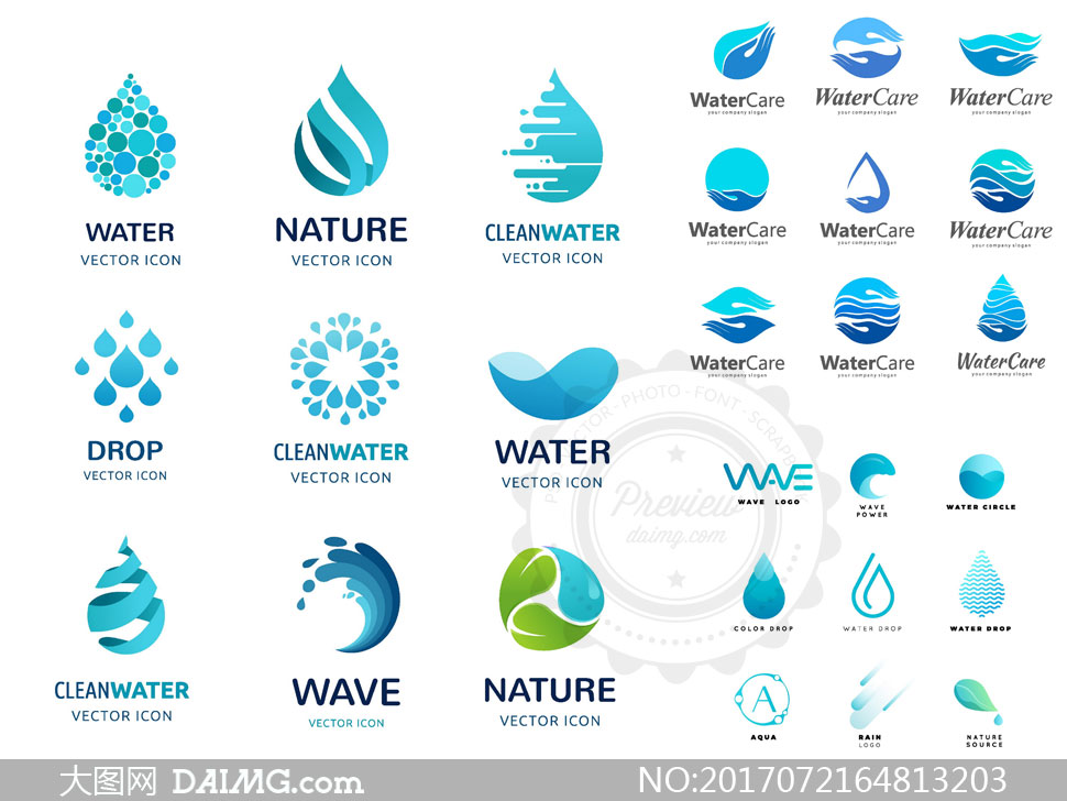 蓝色的水滴形状标志创意矢量素材v1