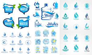 蓝色的水滴形状标志创意矢量素材V4
